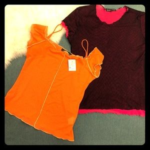 NWT Cute Thin Mesh Tops Orange & Burgundy Sz M